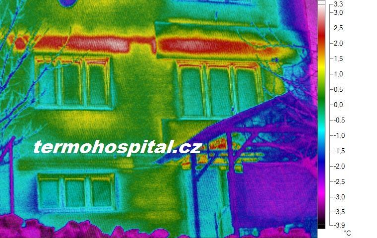 termovizní měření rodinného domu, tepelný most překlad nad okny